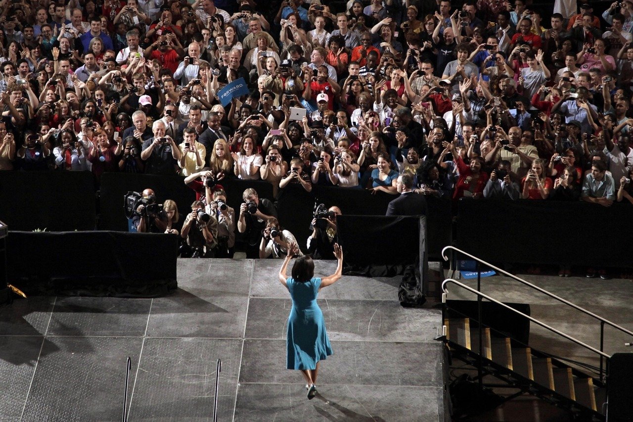 imwithkanye:  The First Lady at Barack Obama's first official campaign rally. (More on the rally)