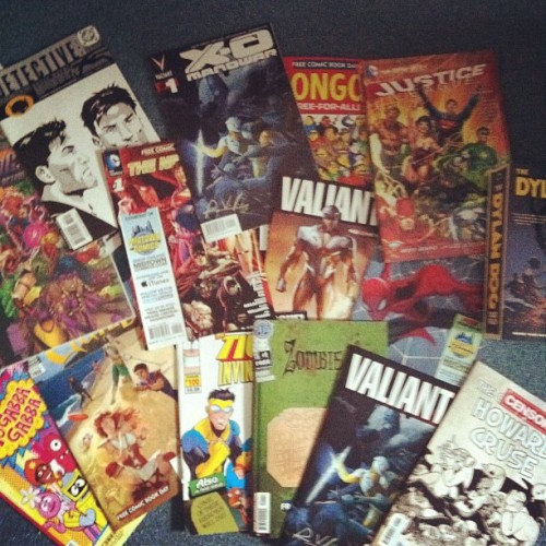 Free Comic Book Day, or: What I'll Be Reading on Sunday. Thank you to all the awesome and generous comics retailers! (Taken with instagram)