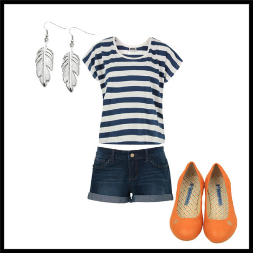 feathers by ginger6enzo featuring feather earringsDiesel striped shirt, $73Jean shorts, £20Ballet flat, $55Feather earrings, $28