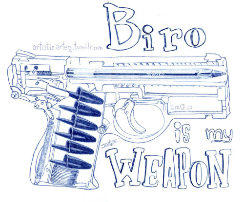 "Ballpoint sketch, because ""Biro is my Weapon"""