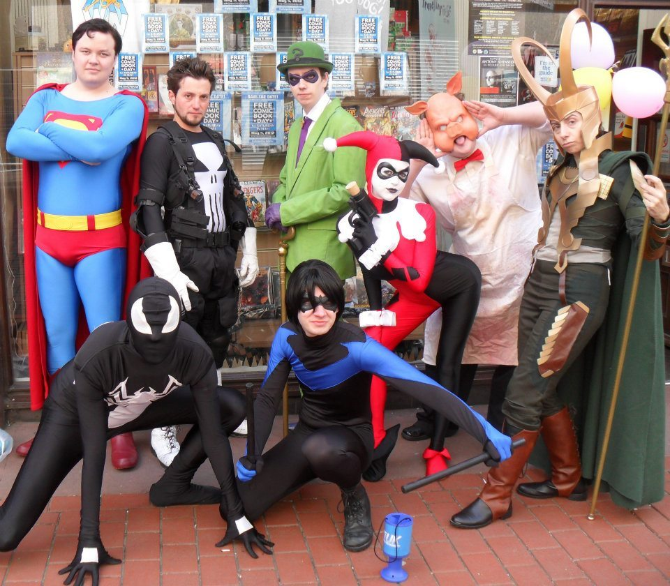Here's a photo of the Leeds HAUK team from Free Comic Book Day! We had a great day at Travelling Man in Leeds, collecting for charity, and had a few photos taken by members of the public, and with some wee kids! Superman: http://emerald-dawn.tumblr.com/ Punisher: Stewart LoudRiddler: http://roguewizard.tumblr.com/ Professor Pyg: http://cobblepot.tumblr.com/ Loki: http://wyrd5ister.tumblr.com/ Symbiote Spider-Man: http://skawtticus.tumblr.com/ Nightwing: Adam BakesHarley Quinn: http://drquinzel.tumblr.com/