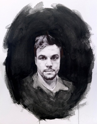 "portrait of artist daniel von der ahe - ball point pen 12"" x 20"""