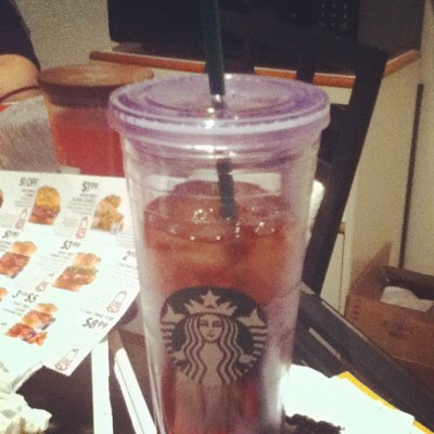 Got my cold cup from #starbucks. Had an iced latte in it but now I filled it up with Mom Wineman's #icedtea. Love it.  (Taken with instagram)
