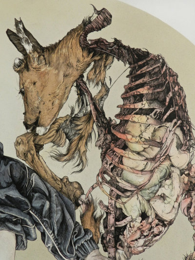darksilenceinsuburbia:  *kikyz1313. Ethereal Graze, 2012. Ink and watercolor on paper, 45x45 cm.