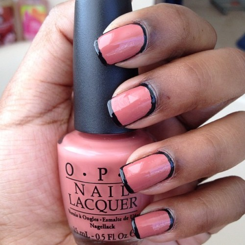 Outline nail art! Main color Java Mauve-a by O.P.I  (Taken with instagram)