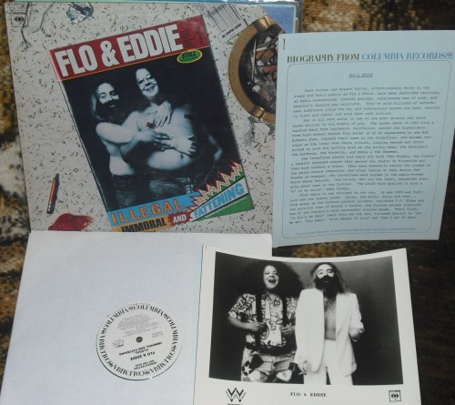 Flo & Eddie - Illegal, Immoral, and Fattening, white label promo with bio sheet and photo.  I'm repeating myself (maybe you didn't see my earlier post) but, in my opinion, this is one of the funniest rock albums ever made.  Not PC.  Also not safe for work.  Also inappropriate for young children.  Maybe you shouldn't listen to it at all…
