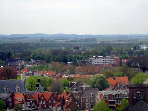 Windmill, Walcheren countryside from Abbey tower, Middelburg by Paul McClure DC on Flickr.