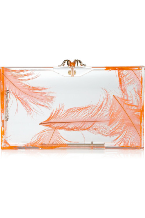 Charlotte Olympia Pandora feather Perspex box clutch.