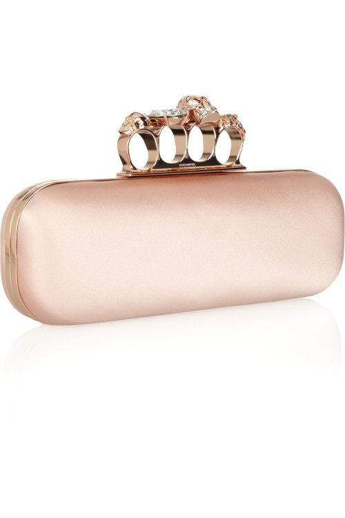 Alexander McQueen Skull Swarovski crystal-embellished satin knuckle box clutch