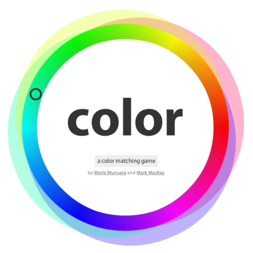 Yearbook game time! Check out color: the color matching game, a cool totally nerdy way to pass the time. Try to match hue, saturation, color complements and more. But do it quickly! (Kudos to you, mountainshighletusdream!)