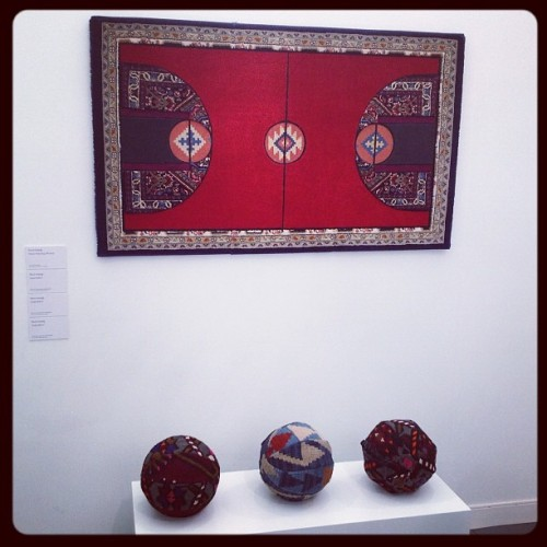 "Nevin Aladag, ""Pattern Matching (PM-Red)"" (2010) and works from his Carpet Ball series (2010-12) at Rampa Gallery, @FriezeNewYork (Taken with instagram)"