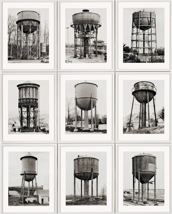 basava:  Bernd and Hilla Becher. Water Towers, 1980. Nine gelatin silver prints, 155.6 x 125.1 cm. Solomon R. Guggenheim Museum, New York, Purchased with funds contributed by Mr. and Mrs. Donald Jonas 81.2793