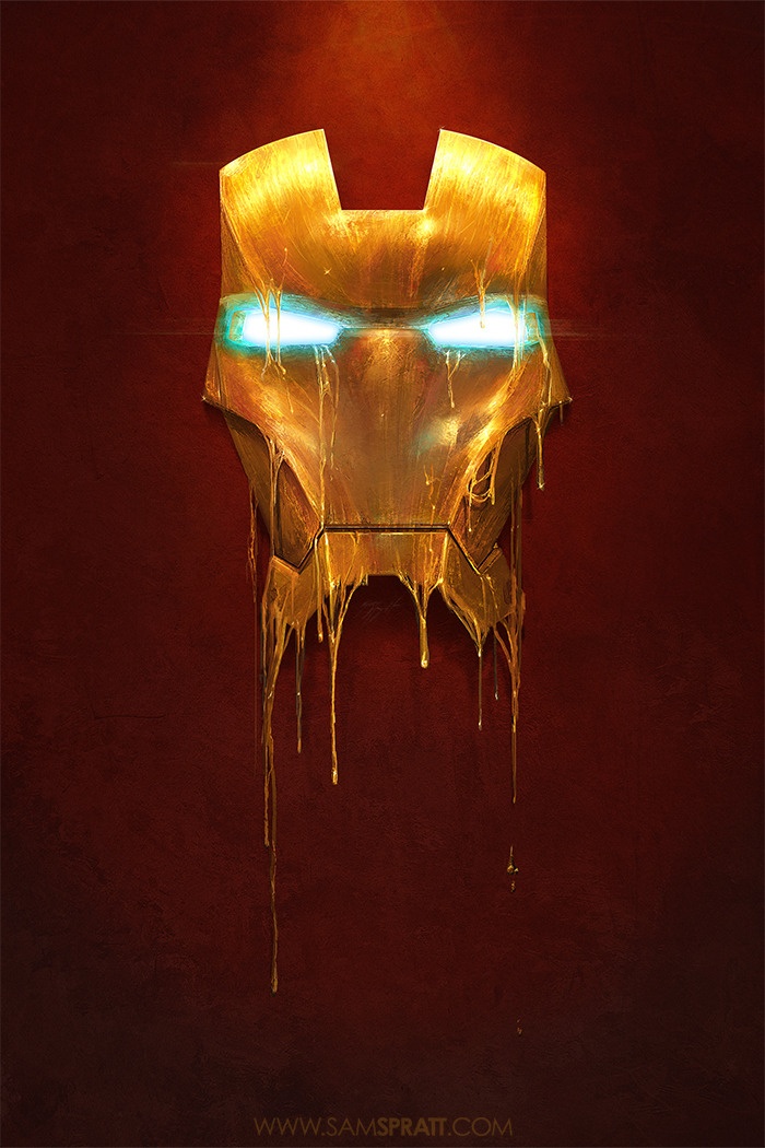 "Iron Man.  samspratt:  ""Gilded"" - Illustration by Sam Spratt I felt like painting something shiny."