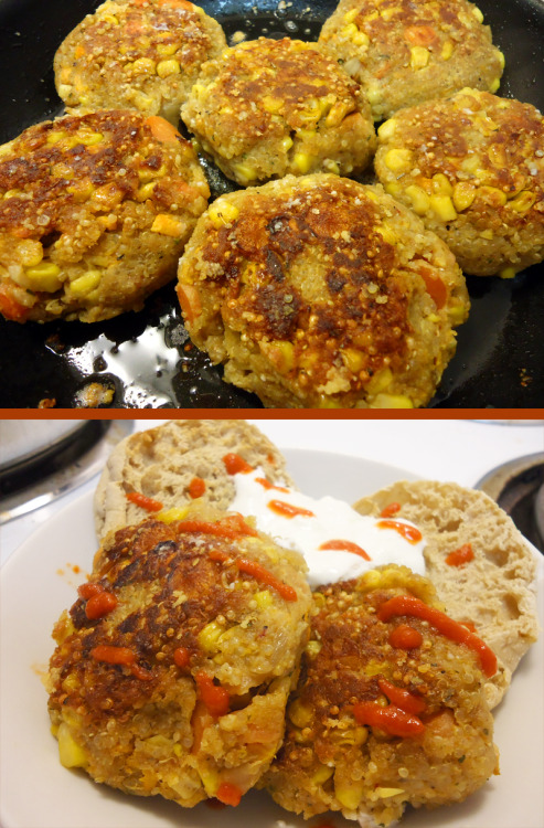 Dinner tonight :) Quinoa veggie pan-fried cakes & tzatziki yogurt sauce. (+ sriracha!) I basically followed this recipe, and substituted corn and carrots for spinach.