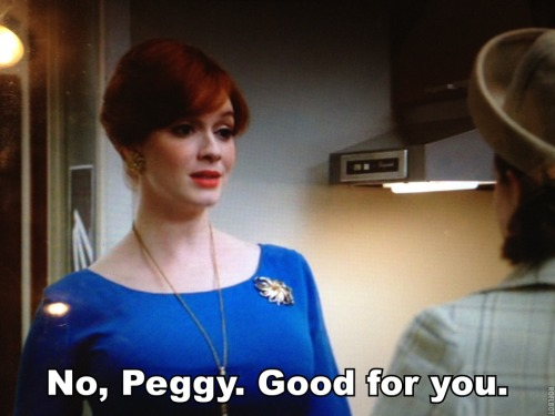"Last Sunday's Mad Men left me in tears. Joan supports Peggy. Peggy supports Megan. And Megan's mom ""supports"" Roger. It was such a powerful episode about women: while ambivalent in meaning, I couldn't help but feel real glee as Joan once again was the most bad-ass, understanding, wise soul on the show. As with every episode of Mad Men, you aren't sure if the world is utterly doomed, but at least in this episode, there were gasps of hope."
