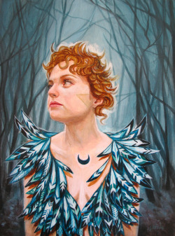 "‎""Emily and the haunted forest"", now available through Ayden gallery, Vancouver BC. 9"" x 12"", acrylic on wood."