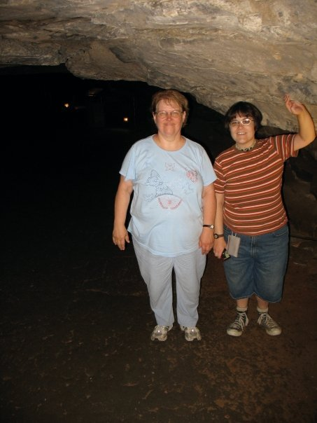 My mom and I at Mammoth Cave, KY, '09. Shorties in the cave don't have to move their heads to avoid the rock!