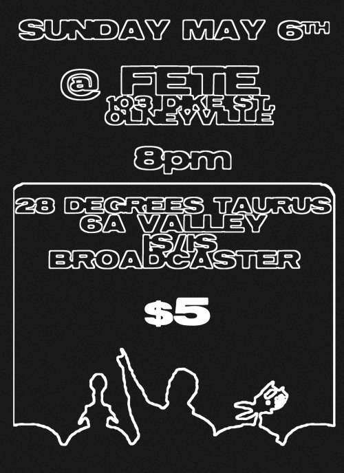 TOMORROW NIGHT! @ FETE 103 Dike St Providence $5 doors @ 8pm, We're on promptly @ 8:30pm so don't  miss it! http://www.fetemusic.com/event/broadcaster-28-degrees-taurus-isis-6a-valley/ FACEBOOK EVENT PAGE: https://www.facebook.com/events/388292021193551/
