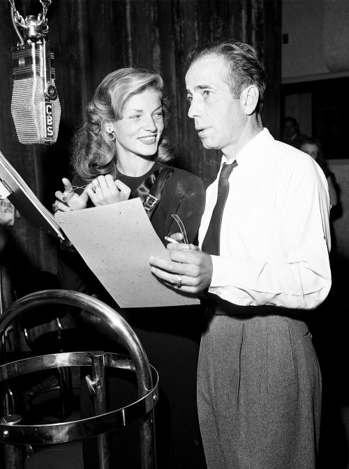 "vintagesonia:   Humphrey Bogart and Lauren Bacall perform the adaptation of the film To Have and Have Not on the CBS radio program ""Lux Radio Theatre"" at the Ricardo Montalban Theater, Hollywood, California. - October 14, 1946"
