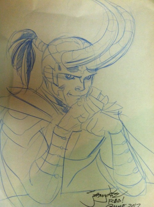 So… guess who got a free custom Loki drawing at free comic book day today. That's right… me! Does anyone recognize this signature? I forgot to ask the guy his name but I think he's a famous comic artist and I can't read the signature.