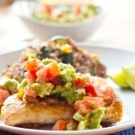 Grilled Chicken with Avocado Tomato Salsa.