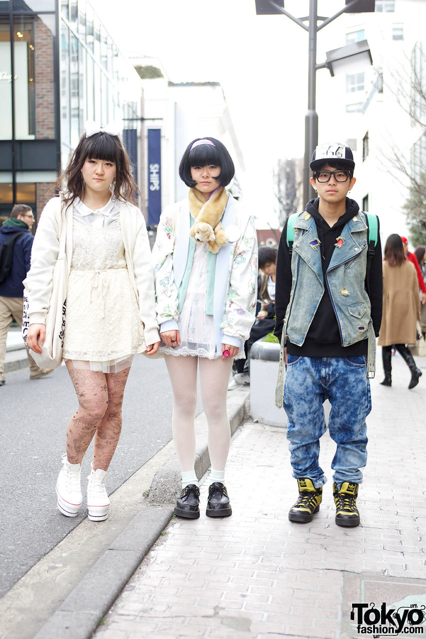 Three friends in Harajuku w/ Care Bears jacket, tattoo tights, Adidas x Jeremy Scott & more!