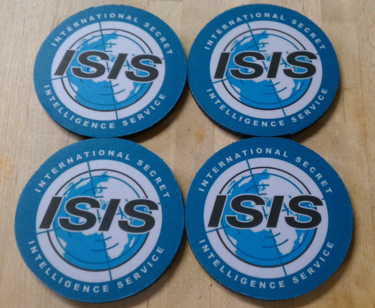 fanaticdesigns:  Protect your table like a secret agent with these sweet Isis coasters! Perfect for the Danger Zone!