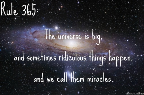 Rule 365: The universe is big, and sometimes ridiculous things happen, and we call them miracles. Submission! [Image Credit]