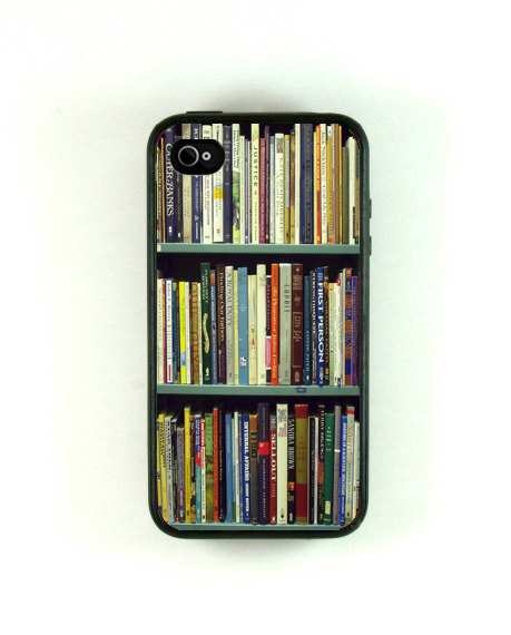 An iPhone case that looks like a book case? Want! (via Etsy)