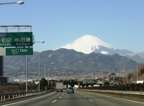 castle-journeys:  Mt Fuji One of the attractions of the Tomei expressway are the views of Mt Fuji on the journey back to Tokyo. Views of Mt Fuji, are at their best during the winter months and soften the blow of heading back home.
