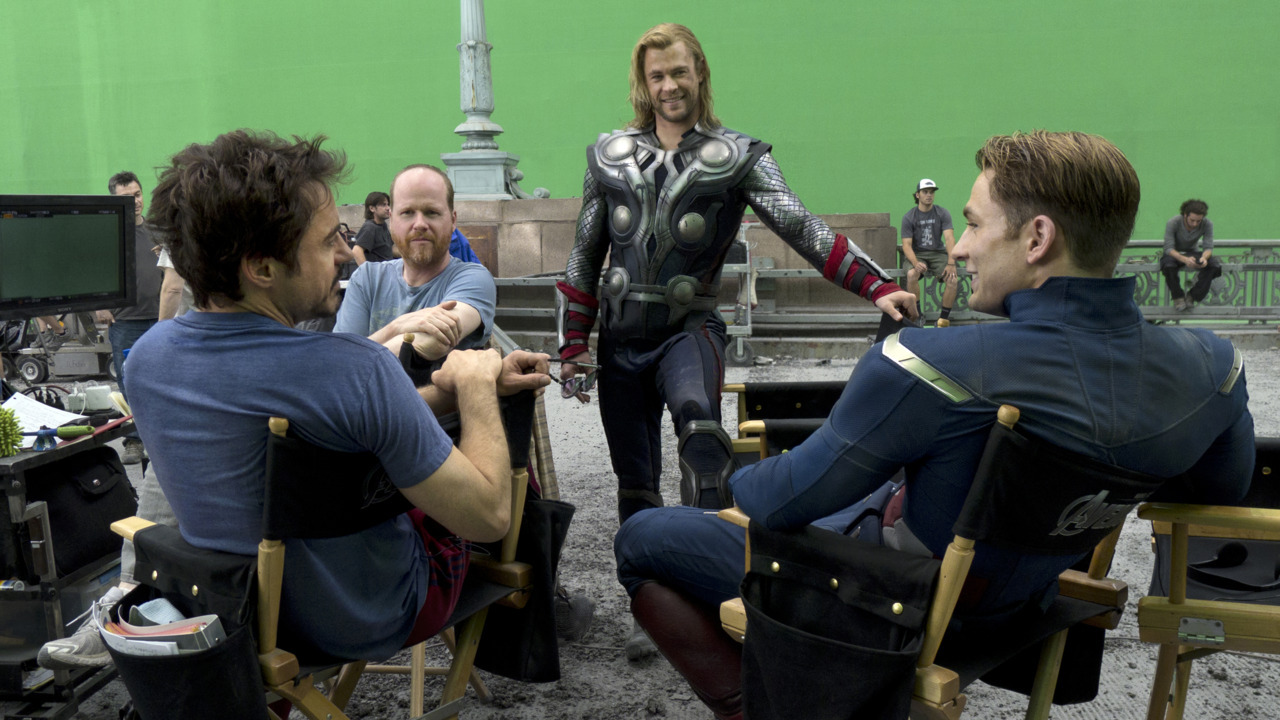 Robert Downey Jr, Joss Whedon, Chris Hemsworth and Chris Evans on the set of The Avengers