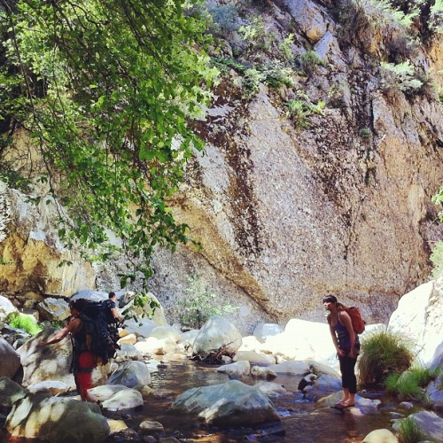 Heather and aliclia crossing the river. #ojai #wheelergorge #california #climbing #sport #eddyizm #lospadres #nationalforest (Taken with instagram)