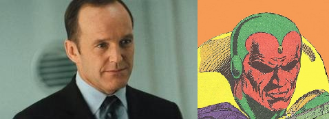 """ikidtheenot:  aquafan:  AVENGERS SPOILERS AHOY YOU HAVE BEEN WARNED Agent Phil Coulson of SHIELD is secretly the Vision. I'll tell you why. The movies have already established that both Synthezoids (Captain America) and Life Model Decoys (Avengers, Iron Man 2 [Stark Expo]) exist. Fully passable androids are already around. Coulson has never exhibited emotion, not once. He remains cool calm and collected in the most insane situations. Even after being stabbed through the chest by Loki he barely bats an eyelash and advises Fury to use his death to motivate the team. Coulson was somehow able to get through Stark Tower's security systems basically unchallenged When talking about Coulson after his """"death"""" Fury says he """"lost his one good eye"""", a clear reference to Coulson's codename Vision. Coulson has acted as Fury's eyes in the field in every single aspect of the Avenger's Initiative The one subject he expresses any real enthusiasm in is Captain America, a contemporary of Jim Hammond, the original Synthezoid on which the Vision was based. And most importantly, if this is true then Phil Coulson is alive. Please be alive Phil…  Apparently Whedon told Gregg that Coulson would survive. [x]"""
