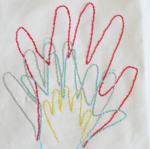 DIY Family or Friends' Embroidered Hand Prints. Craft Level: EASY. Tutorial from Inspired by Family Magazine here.