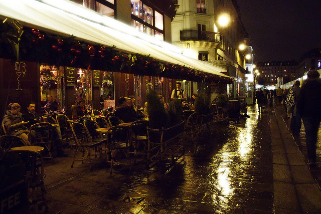 | ♕ |  Rainy night in Paris - Les Halles cafe | by © NylonBleu