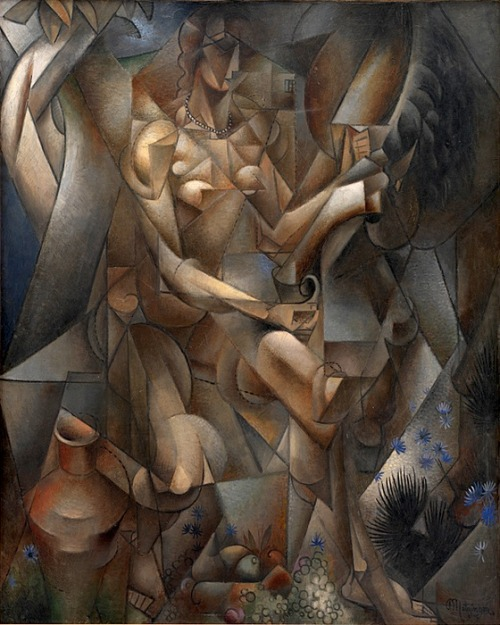 the-paintrist:  Jean Metzinger, La Femme au Cheval, The Rider, Woman with a horse, 1911-1912  Statens Museum for Kunst, National Gallery of Denmark. Published in Apollinaire's 1913 Les Peintres Cubistes, Exhibited at the 1912 Salon des Indépendants