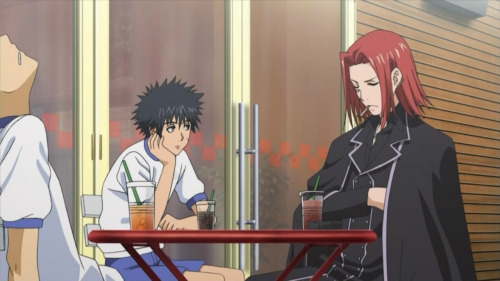 this screencap always cracks me up like these losers just casually hanging out at a cafe with a half-dead guy and touma's tiny ass drink and dumb face HE DOESN'T EVEN LOOK LIKE HE'S SITTING AT THE SAME TABLE