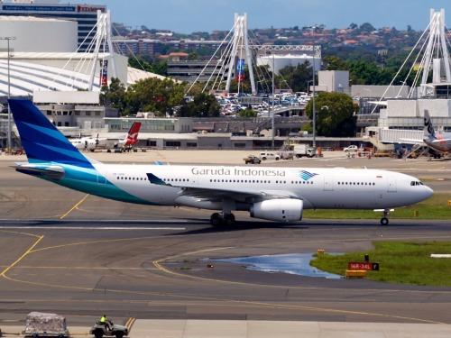 Garuda Indonesia A330 at Sydney Type: Airbus A330-243 Registration: PK-GPN Location: Kingsford Smith International Date: 02/12/2011