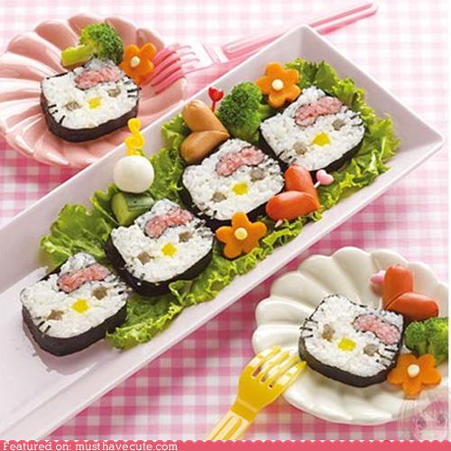 Hello Kitty Sushi.  I love Hello Kitty Sushi. They're very tasty and also very cute.