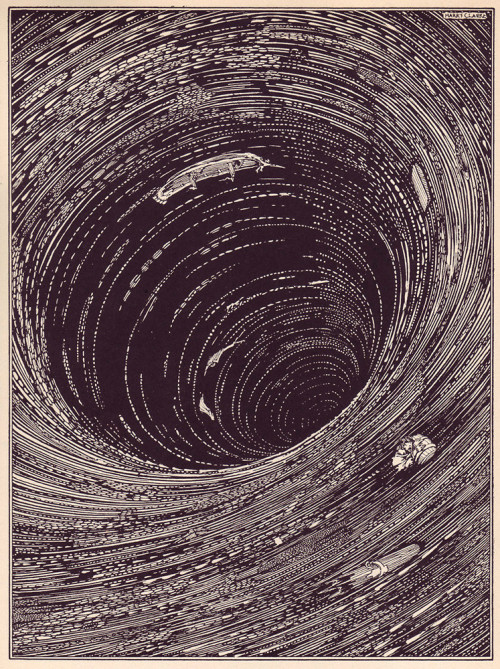 "jessfink:   ianbrooks: Poe Visualized by Harry Clarke From the 1919 deluxe edition of Edgar Allen Poe's Tales of Mystery and Imagination, Harry Clarke reached deep into those dark, flinching corners underneath the bed and ripped out the grotesque horrors that lurked within, creating these macabre illustrations that accompanied Poe's disturbing classics like ""The Pit and the Pendulum"" and the ""The Telltale Heart"" perfectly. In the same vein as Stephen Gammell's Scary Stories to Tell in the Dark monstrosities decades later, these illustrations are sufficient evidence that while some stories can be even more frightening when left to your imagination, it takes a truly visceral artist to give those shadows form and really scare the bejeezus out of you.  (via: fastcodesign / io9)   Harry Clarke is fucking amazing. My step father owns an original copy of the 1919 Poe book these illuatrations are featured in. I used to sit there and carefully pour over those frightening, gorgeous, intricate drawings. Really, look him up.  oh man, I have new edition of Tales of Mystery and Imagination and it's stunning. I love it"