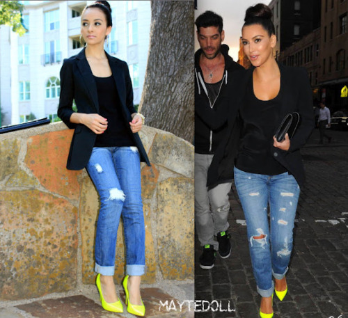 On Kim Shoes: $625 Mayte's Recreation Black Boyfriend Blazer: Express $50 (Buy Similar Here) Black Top: Forever 21 $8  Clutch: Forever 21 $19  Jeans: Charlotte Russe $32 (Buy Similar Here) Yellow Neon Shoes: lulus.com $29 (Buy Similar Here) Total: Less than $140 For More? Visit Mayte's Blog!
