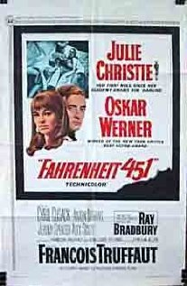 "Fahrenheit 451 (or about 232 degrees Celcius), the temperature at which all books catch fire and burn.  Note: directed by François Truffaut, in his first colour film, as well as his only English-language film. Wiki:  In this diary, he called Fahrenheit 451 his ""saddest and most difficult"" film making experience, mainly because of intense conflicts between Truffaut and Werner"