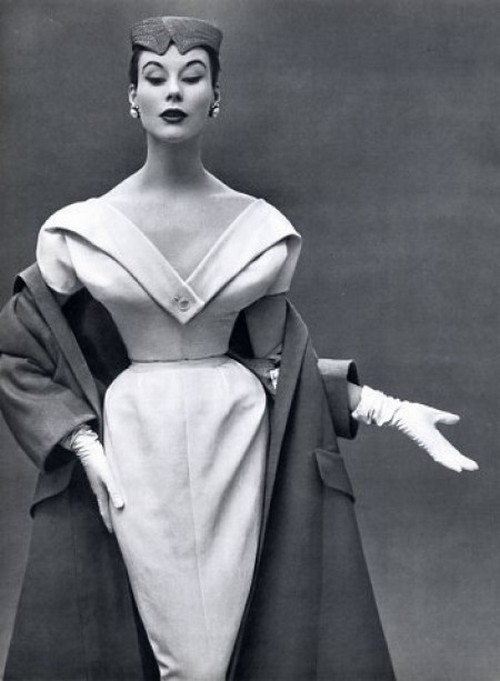 theniftyfifties:  Dinner dress and coat by Christian Dior, 1953.