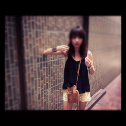 . top by american eagle/ shorts by bershka/ bag from japan/ bracelet by cos .