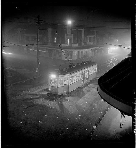 Night fog, Chatswood tram, July 1950.