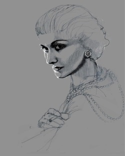 justmiart:  Chanel. Portrait. Fashion book illustration