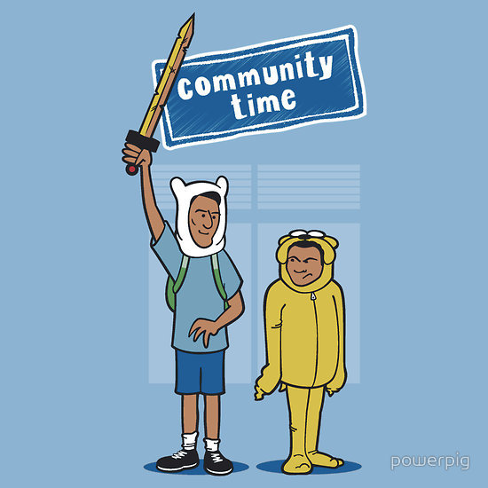 """Community Time!"" by powerpig. You've seen them as Bert and Ernie, and now Community favorites Troy and Abed enter the Land of Ooo as Adventure Time's Finn and Jake.