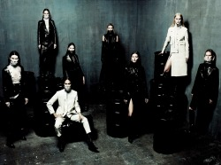 Shalom Harlow, Karmen Pedaru, Joan Smalls, Frankie Rayder, Natasha Poly, Gisele Bundchen, Carmen Kass and Karolina Kurkova in Alexander Wang for Interview May 2012