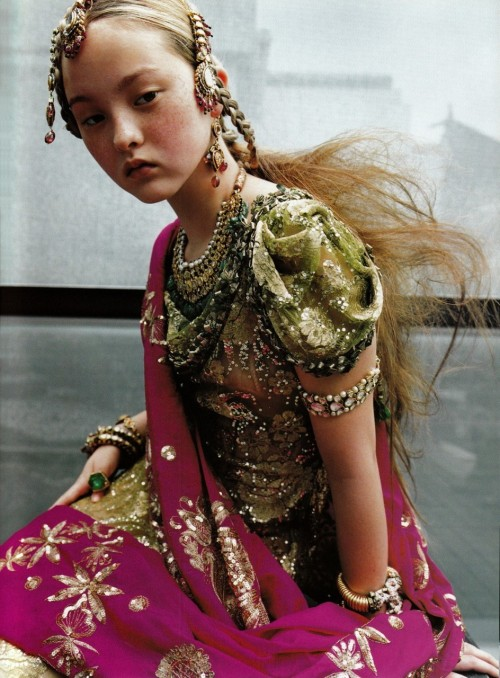 'Couture de Monde', Devon Aoki by Ruven Afanador, Vogue Paris September 1999. Christian Dior Fall Winter 1999 Haute Couture