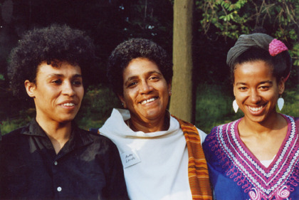 Audre Lorde, Katharina Oguntoye, May Ayim Still from Audre Lorde - the Berlin Years 1984 to 1992 Audre Lorde - the Berlin Years 1984 to 1992 documents Audre Lorde's influence on the German political and cultural scene during a decade of profound social change, a decade that brought about the fall of the Berlin Wall and the re-unification of East and West Germany. This chronicles an untold chapter of Lorde's life: her empowerment of Afro-German women, as she challenged white women to acknowledge the significance of their white privilege and to deal with difference in constructive ways.  The film explores the importance of Lorde's legacy as she encouraged Afro-Germans—who at that time had no name for themselves—to make themselves visible within a culture that until then had kept them isolated and silent. Supported by Lorde's example and instruction Afro-German women began to write their history and their stories and to form political networks on behalf of Black people in Germany. As a result authors such as May Ayim, Katharina Oguntoye and Ika Hügel-Marshall published their works. Audre Lorde - The Berlin Years 1984 to 1992 outlines Lorde's contributions to the German discourse on racism, xenophobia, antisemitism, classism, and homophobia within the Black movement and the Black and white women's movement, a discourse alive and growing today. Present-day interviews explore the lasting influence of Lorde's ideas and the impact of her work and personality.